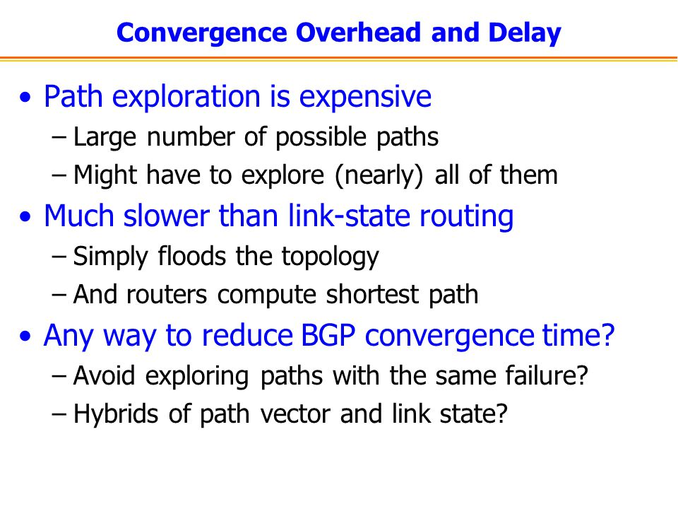 Convergence Overhead and Delay Path exploration is expensive –Large number of possible paths –Might have to explore (nearly) all of them Much slower than link-state routing –Simply floods the topology –And routers compute shortest path Any way to reduce BGP convergence time.