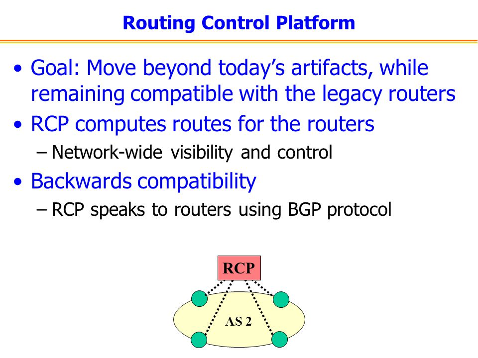 Routing Control Platform Goal: Move beyond today's artifacts, while remaining compatible with the legacy routers RCP computes routes for the routers –Network-wide visibility and control Backwards compatibility –RCP speaks to routers using BGP protocol AS 2 RCP