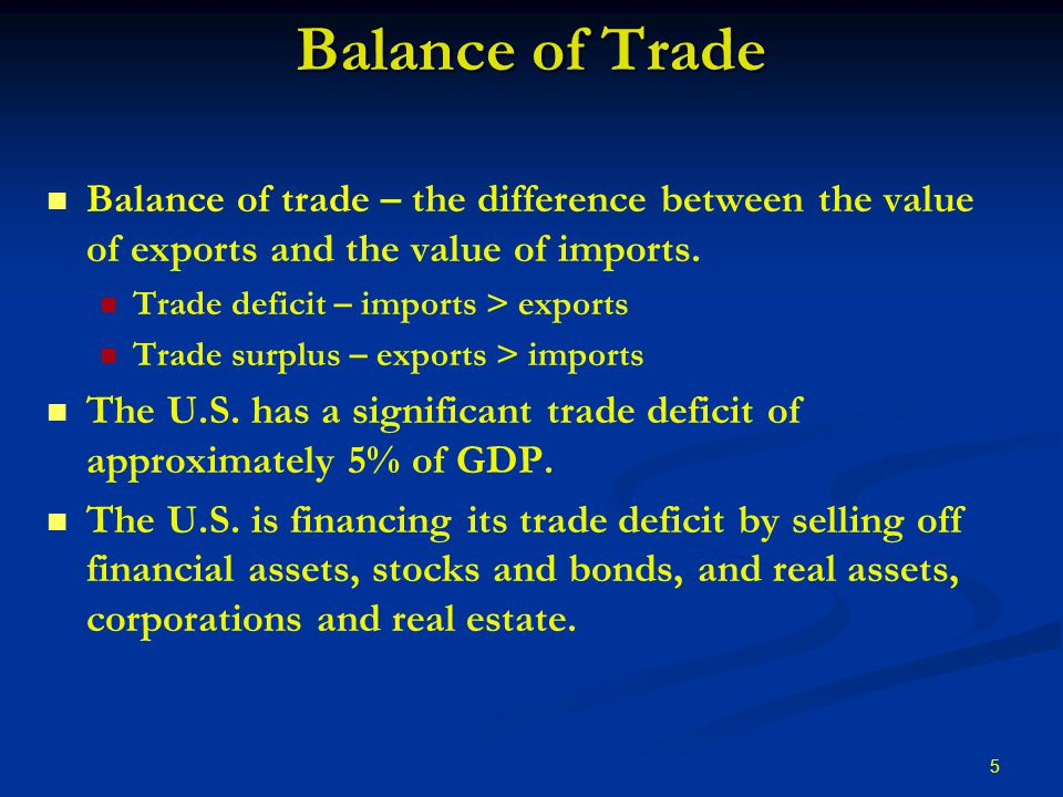 5 Balance of Trade Balance of trade – the difference between the value of exports and the value of imports.