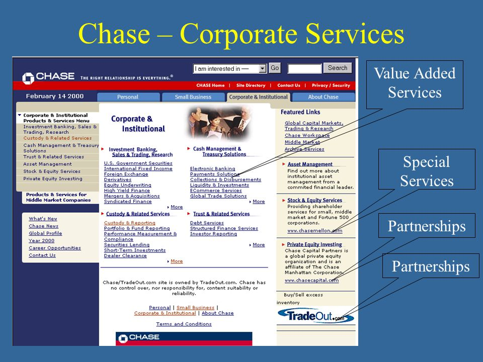 Chase – Corporate Services Special Services Partnerships Value Added Services