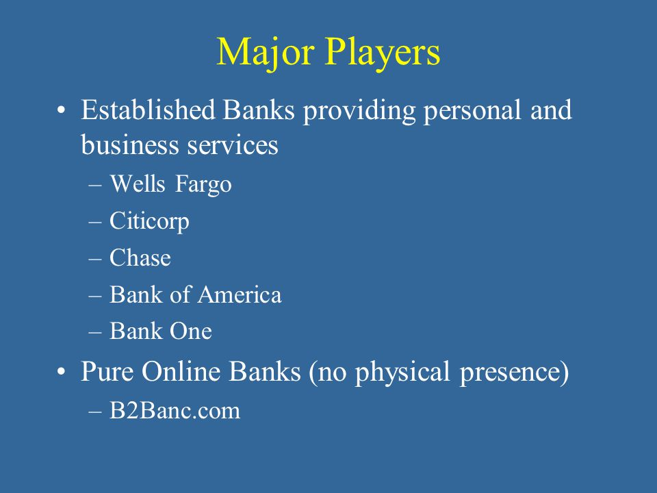 Major Players Established Banks providing personal and business services –Wells Fargo –Citicorp –Chase –Bank of America –Bank One Pure Online Banks (no physical presence) –B2Banc.com