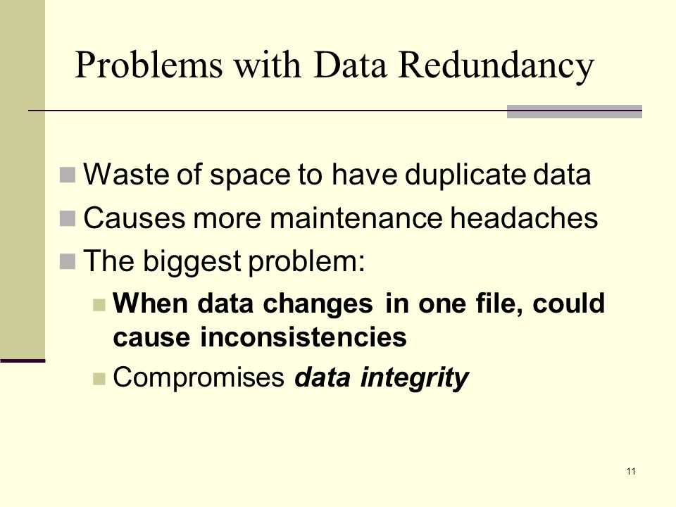 11 Problems with Data Redundancy Waste of space to have duplicate data Causes more maintenance headaches The biggest problem: When data changes in one file, could cause inconsistencies Compromises data integrity