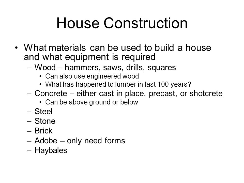 5 House Construction What Materials Can Be Used ...