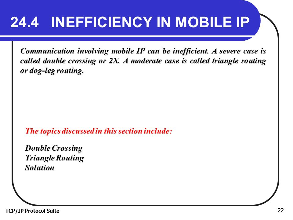 TCP/IP Protocol Suite 22 24.4 INEFFICIENCY IN MOBILE IP Communication involving mobile IP can be inefficient.