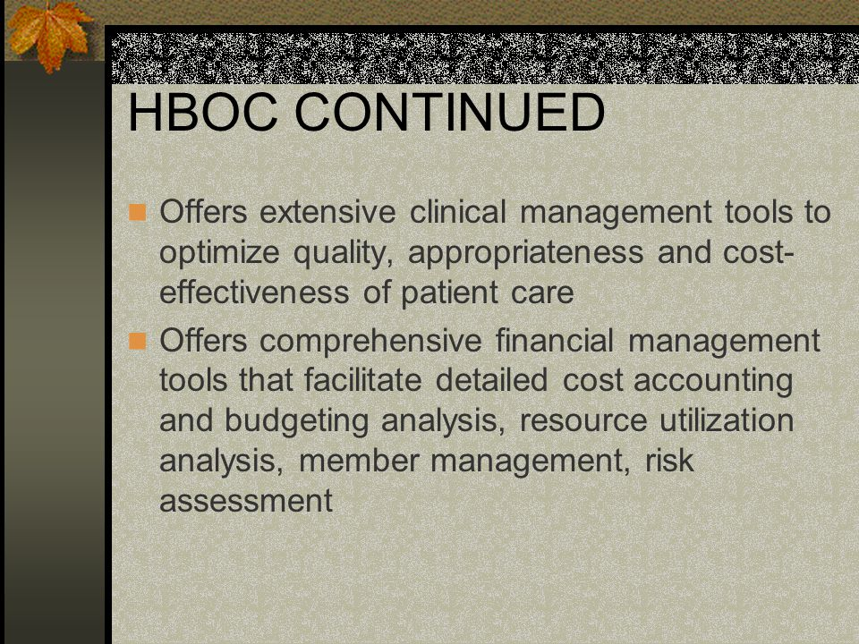 HBOC CONTINUED Offers managed care software solutions for providers beginning to assume risk for patient populations as well as managed care organizations Offers decision support tools for the provider and payor markets by giving them access to diverse sources of information, powerful analytical functions, and extensive reporting and presentation tools