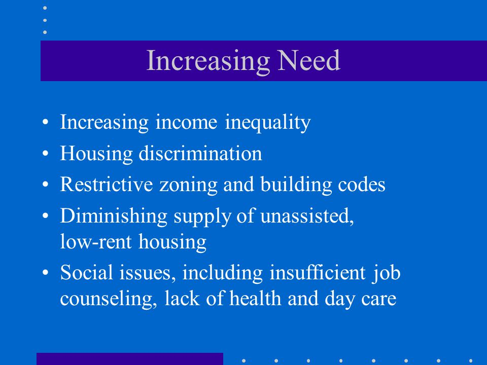 Increasing Need Increasing income inequality Housing discrimination Restrictive zoning and building codes Diminishing supply of unassisted, low-rent housing Social issues, including insufficient job counseling, lack of health and day care