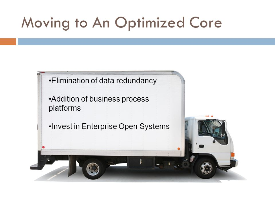 Moving to An Optimized Core Elimination of data redundancy Addition of business process platforms Invest in Enterprise Open Systems