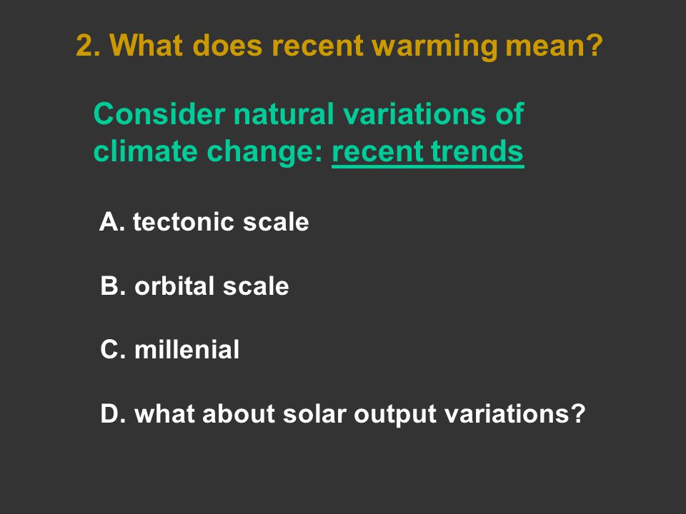 Consider natural variations of climate change: recent trends A.