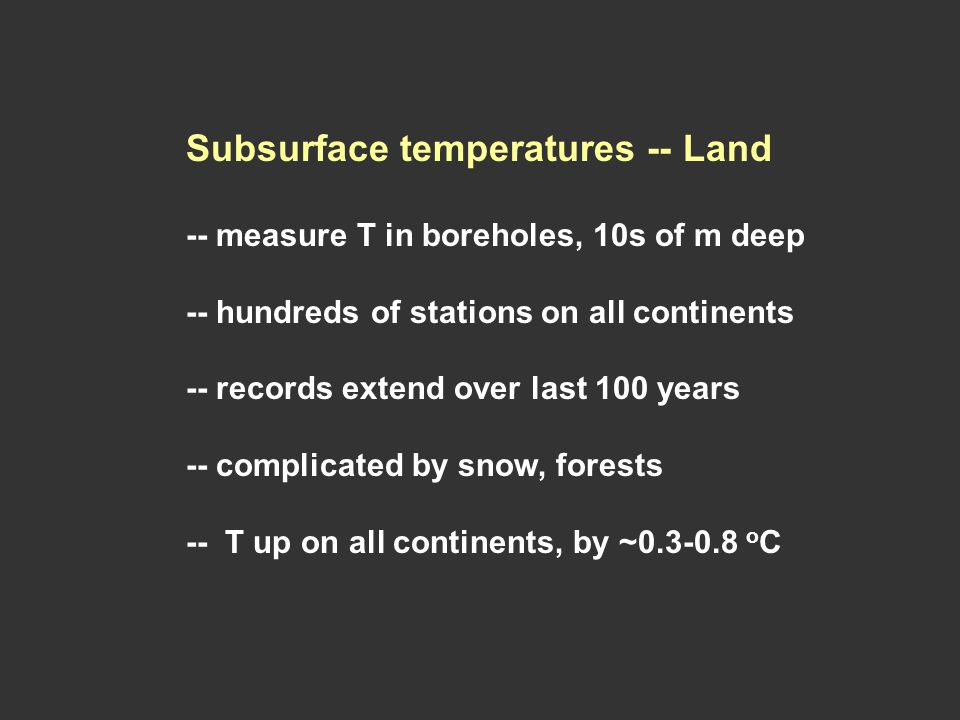 Subsurface temperatures -- Land -- measure T in boreholes, 10s of m deep -- hundreds of stations on all continents -- records extend over last 100 years -- complicated by snow, forests -- T up on all continents, by ~ o C