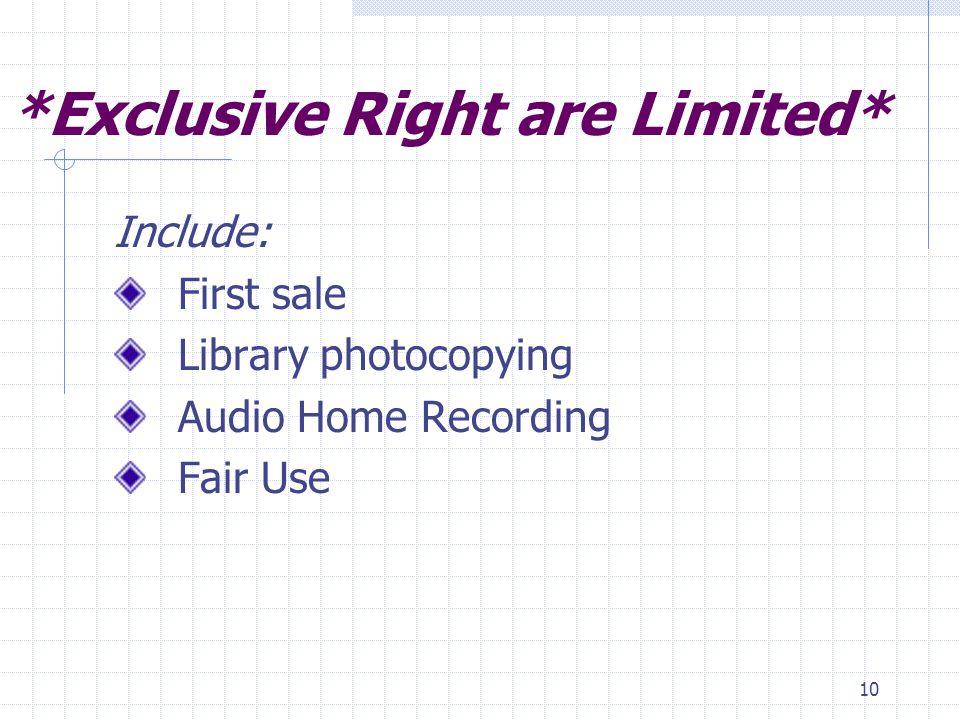 10 *Exclusive Right are Limited* Include: First sale Library photocopying Audio Home Recording Fair Use