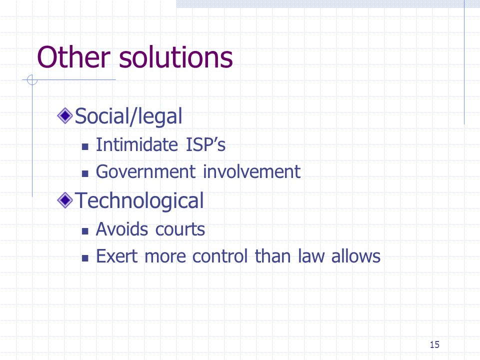 15 Other solutions Social/legal Intimidate ISP's Government involvement Technological Avoids courts Exert more control than law allows