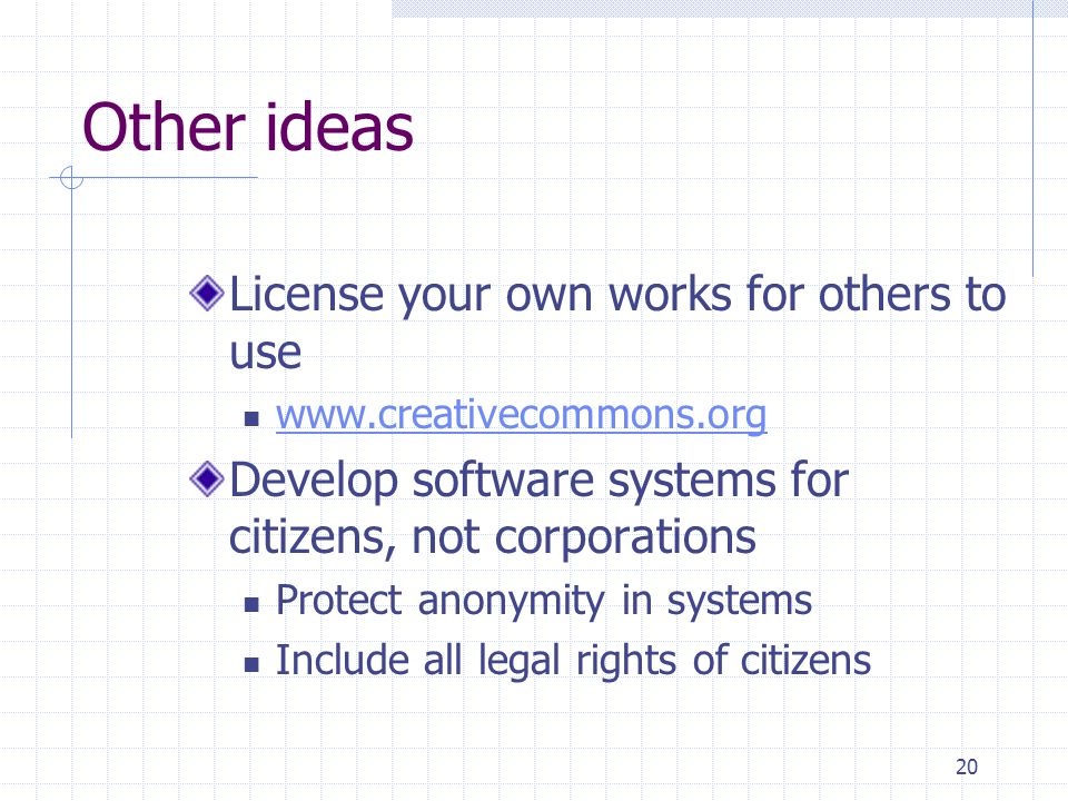20 Other ideas License your own works for others to use   Develop software systems for citizens, not corporations Protect anonymity in systems Include all legal rights of citizens