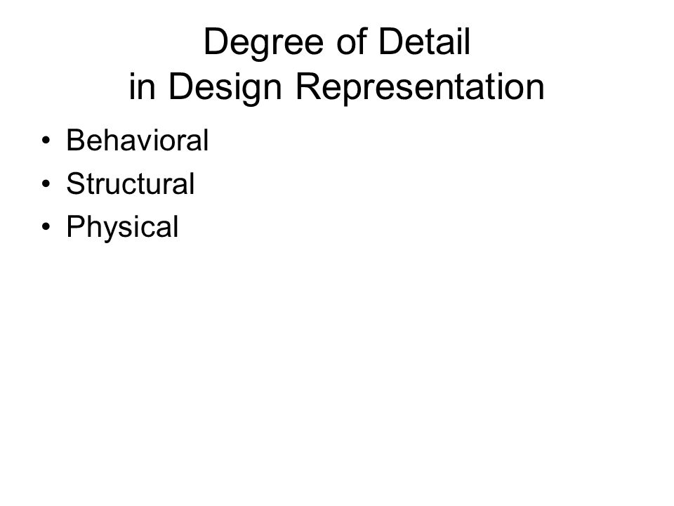 Degree of Detail in Design Representation Behavioral Structural Physical