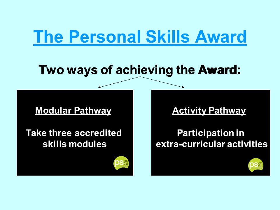 Modular Pathway Take three accredited skills modules The Personal Skills Award Two ways of achieving the Award: Activity Pathway Participation in extra-curricular activities