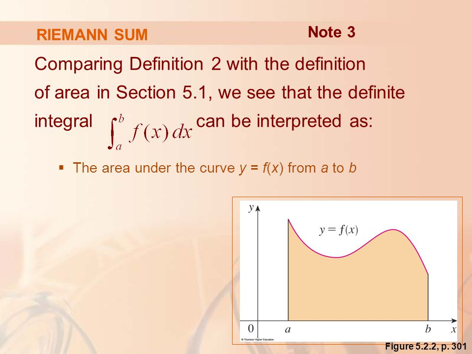RIEMANN SUM Comparing Definition 2 with the definition of area in Section 5.1, we see that the definite integral can be interpreted as:  The area under the curve y = f(x) from a to b Note 3 Figure 5.2.2, p.