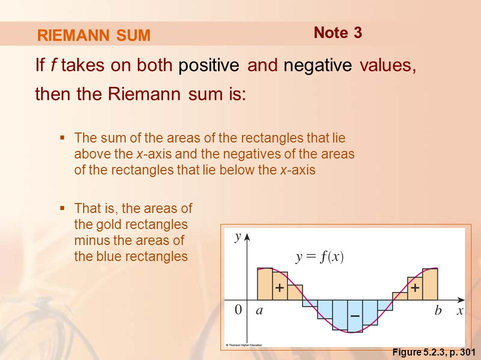 RIEMANN SUM If f takes on both positive and negative values, then the Riemann sum is:  The sum of the areas of the rectangles that lie above the x-axis and the negatives of the areas of the rectangles that lie below the x-axis  That is, the areas of the gold rectangles minus the areas of the blue rectangles Note 3 Figure 5.2.3, p.