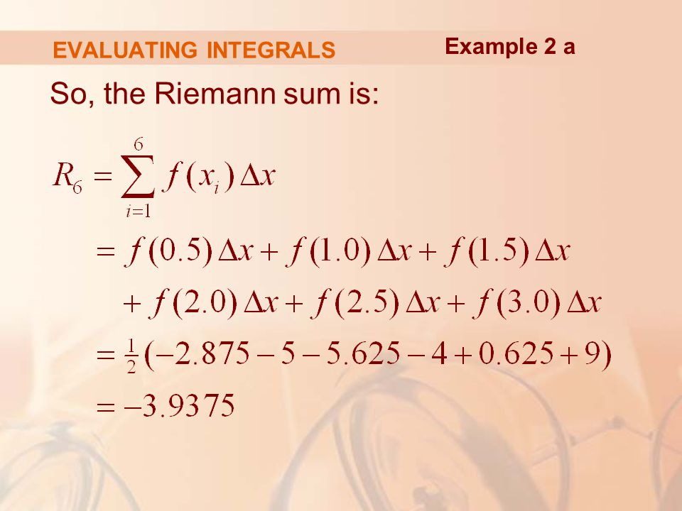 EVALUATING INTEGRALS So, the Riemann sum is: Example 2 a
