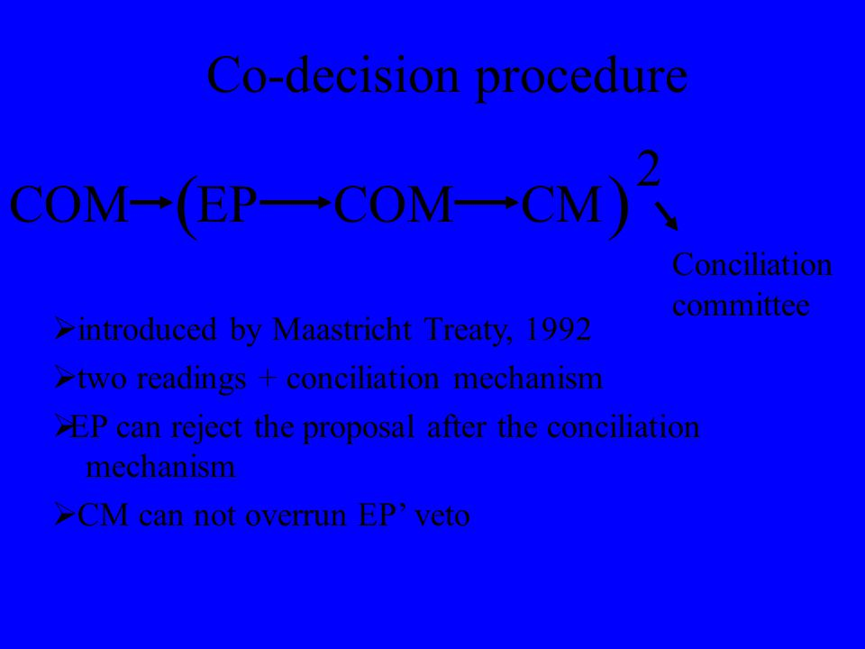 Co-decision procedure COMCMCOMEP () 2  introduced by Maastricht Treaty, 1992  two readings + conciliation mechanism  EP can reject the proposal after the conciliation mechanism  CM can not overrun EP' veto Conciliation committee