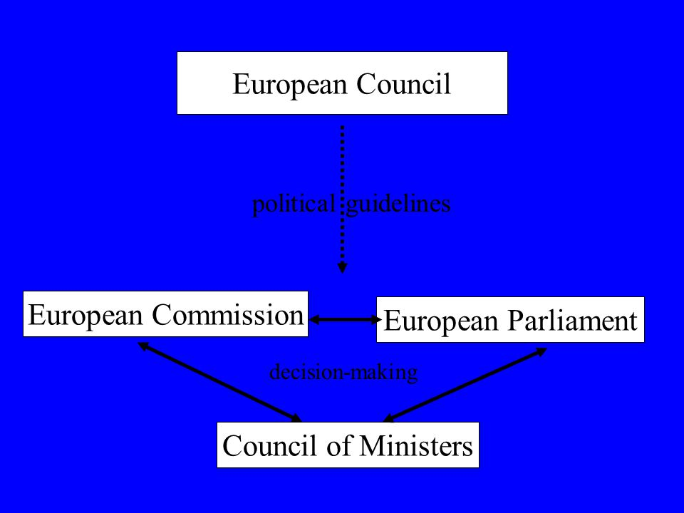 European Council European Commission Council of Ministers European Parliament political guidelines decision-making