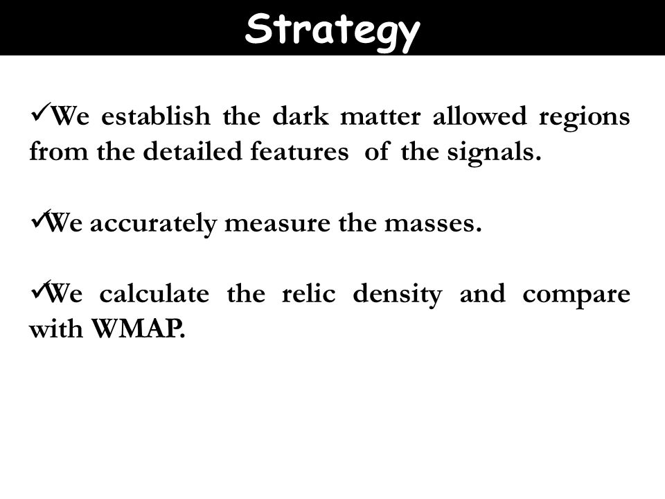 We establish the dark matter allowed regions from the detailed features of the signals.