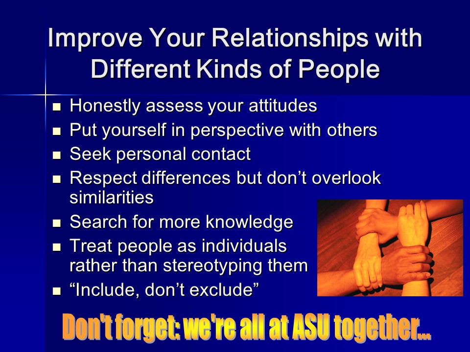 Improve Your Relationships with Different Kinds of People Honestly assess your attitudes Honestly assess your attitudes Put yourself in perspective with others Put yourself in perspective with others Seek personal contact Seek personal contact Respect differences but don't overlook similarities Respect differences but don't overlook similarities Search for more knowledge Search for more knowledge Treat people as individuals rather than stereotyping them Treat people as individuals rather than stereotyping them Include, don't exclude Include, don't exclude