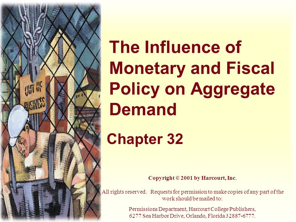 The Influence of Monetary and Fiscal Policy on Aggregate Demand Chapter 32 Copyright © 2001 by Harcourt, Inc.