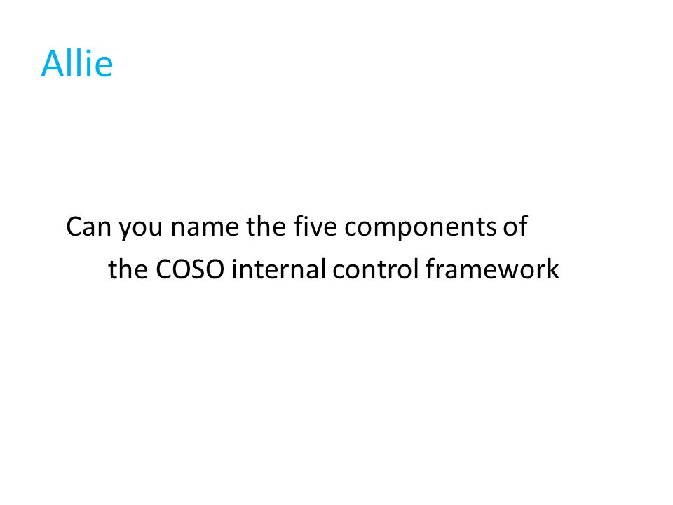 Allie Can you name the five components of the COSO internal control framework