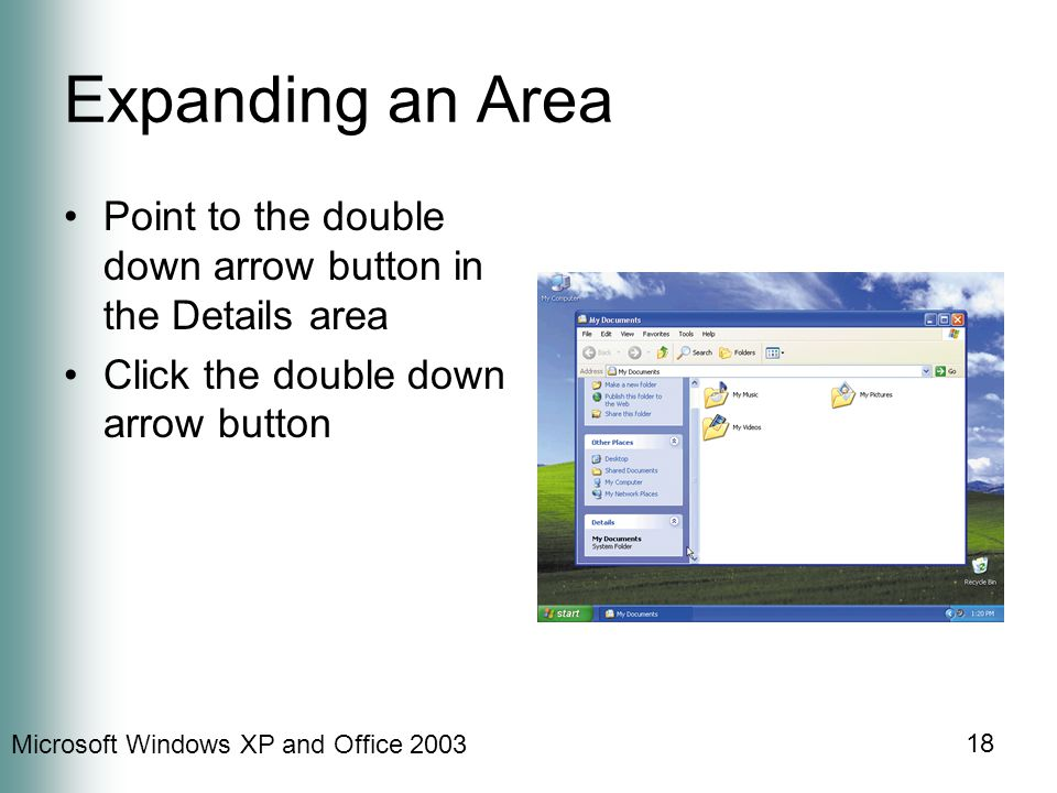 Microsoft Windows XP and Office Expanding an Area Point to the double down arrow button in the Details area Click the double down arrow button