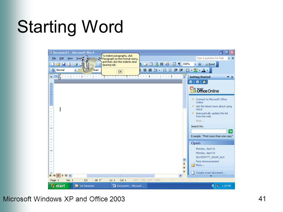 Microsoft Windows XP and Office Starting Word