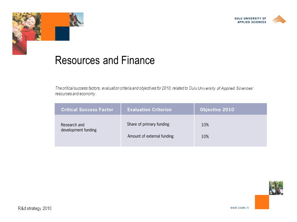 Resources and Finance The critical success factors, evaluation criteria and objectives for 2010, related to Oulu University of Applied Sciences' resources and economy.