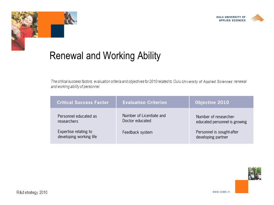Renewal and Working Ability The critical success factors, evaluation criteria and objectives for 2010 related to Oulu University of Applied Sciences' renewal and working ability of personnel.