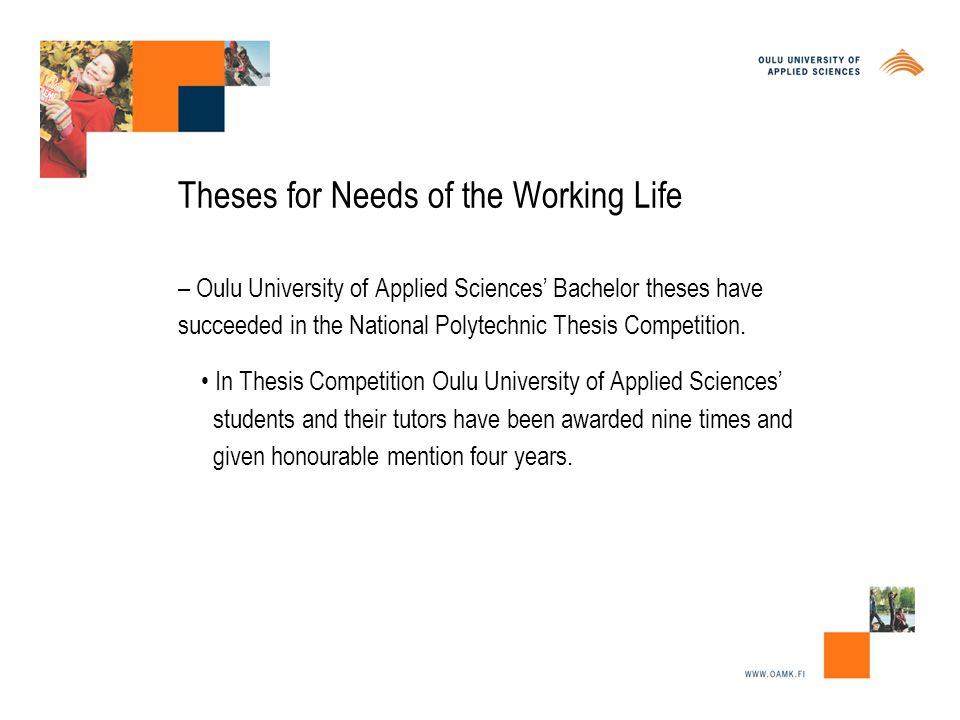 Theses for Needs of the Working Life – Oulu University of Applied Sciences' Bachelor theses have succeeded in the National Polytechnic Thesis Competition.