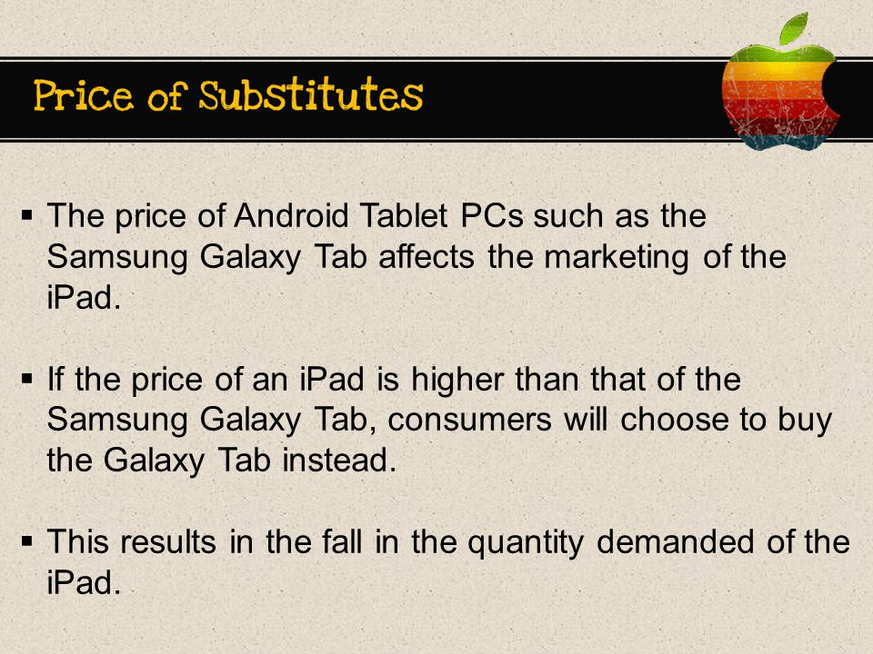  The price of Android Tablet PCs such as the Samsung Galaxy Tab affects the marketing of the iPad.