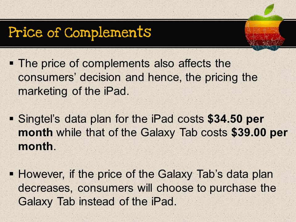  The price of complements also affects the consumers' decision and hence, the pricing the marketing of the iPad.
