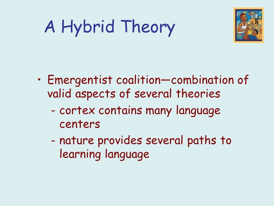A Hybrid Theory Emergentist coalition—combination of valid aspects of several theories -cortex contains many language centers -nature provides several paths to learning language