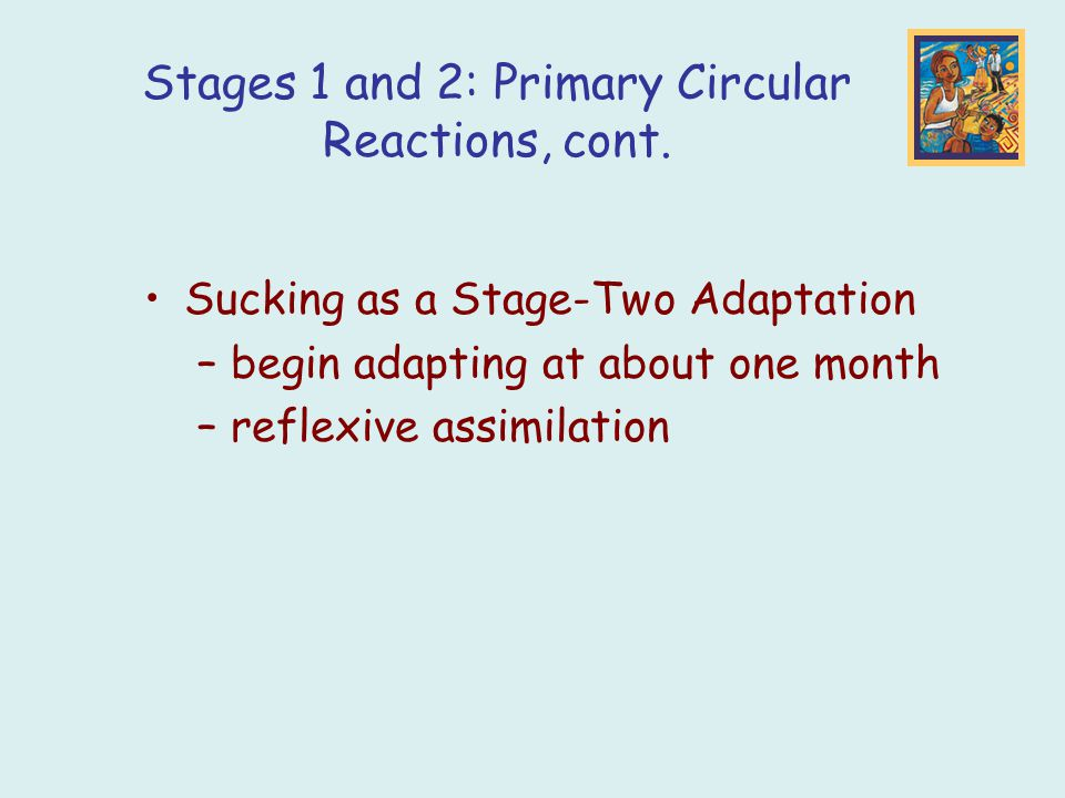 Sucking as a Stage-Two Adaptation –begin adapting at about one month –reflexive assimilation Stages 1 and 2: Primary Circular Reactions, cont.