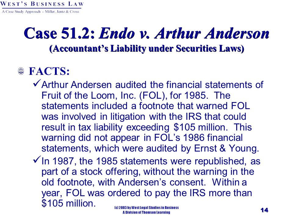 case 5 arthur andersen questionable accounting