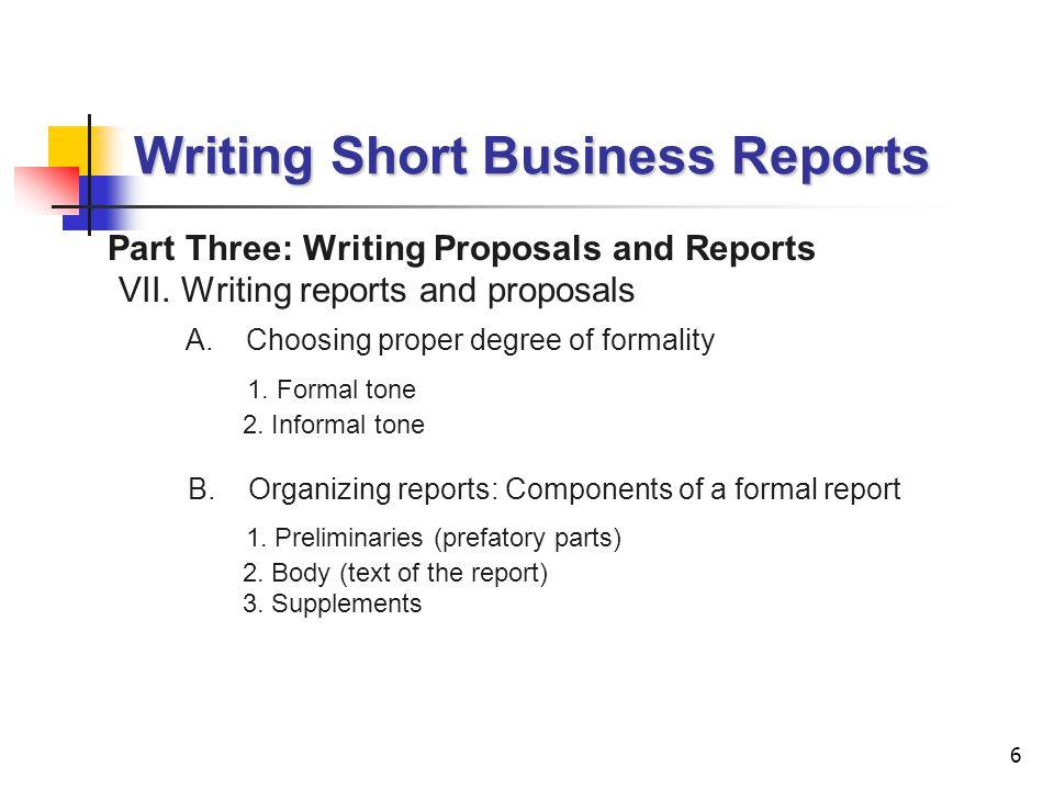 proper business report format