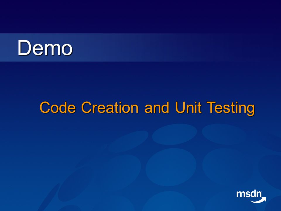 Demo Code Creation and Unit Testing