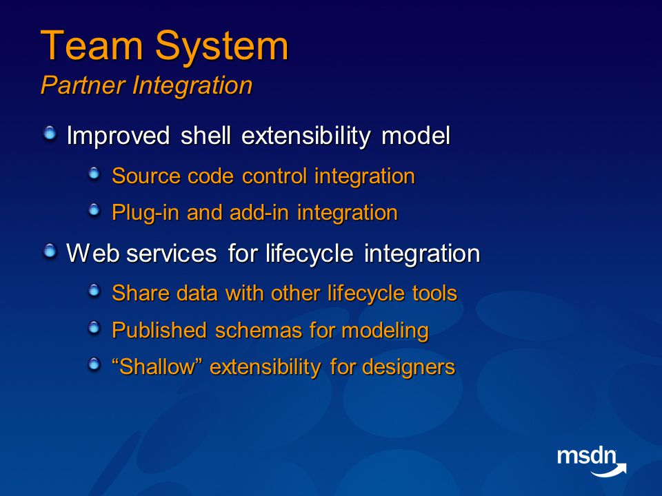 Team System Partner Integration Improved shell extensibility model Source code control integration Plug-in and add-in integration Web services for lifecycle integration Share data with other lifecycle tools Published schemas for modeling Shallow extensibility for designers