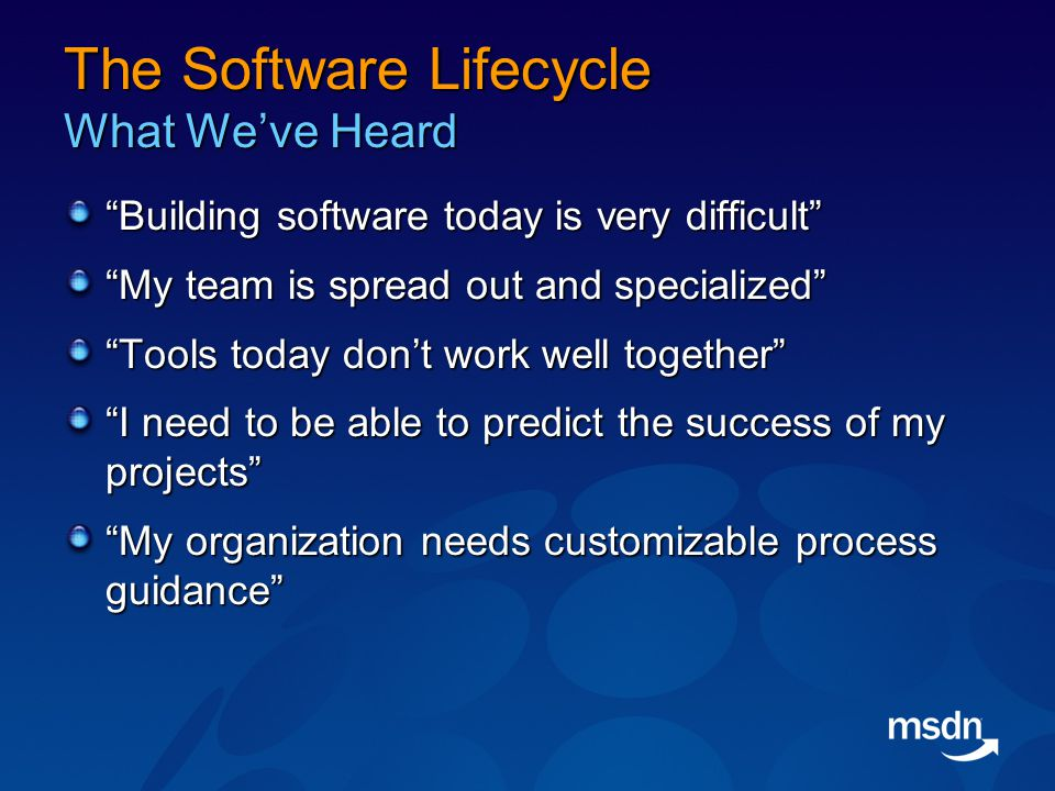 The Software Lifecycle What We've Heard Building software today is very difficult My team is spread out and specialized Tools today don't work well together I need to be able to predict the success of my projects My organization needs customizable process guidance