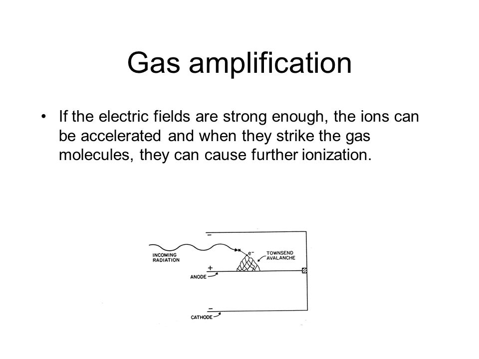 Gas amplification If the electric fields are strong enough, the ions can be accelerated and when they strike the gas molecules, they can cause further ionization.
