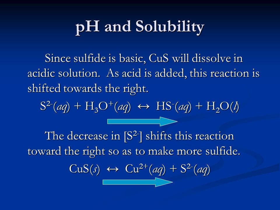pH and Solubility Since sulfide is basic, CuS will dissolve in acidic solution.