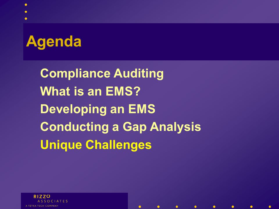 Gap Analysis Stages Pre-Audit Planning Notification Site VisitPost-Audit Initial Meeting Facility Tour Record Review Interviews Exit Briefing EMS Gaps
