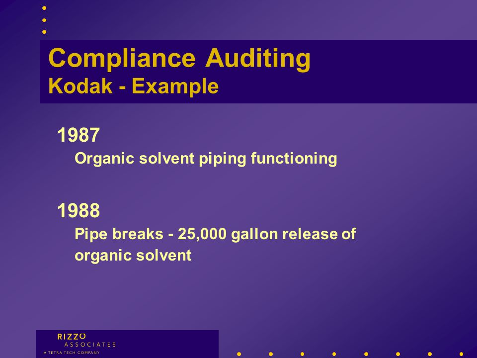 Compliance Auditing An auditor may see compliance one day... …and something different the next.