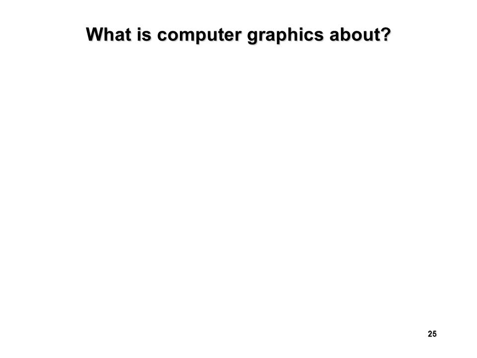 25 What is computer graphics about
