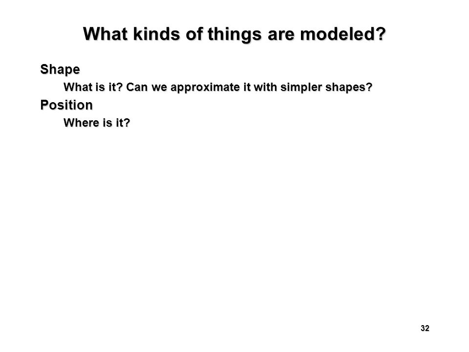 32 What kinds of things are modeled. Shape What is it.
