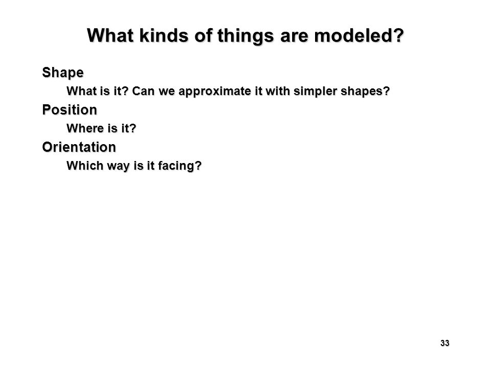 33 What kinds of things are modeled. Shape What is it.
