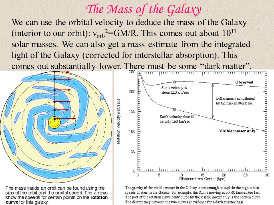 The Mass of the Galaxy We can use the orbital velocity to deduce the mass of the Galaxy (interior to our orbit): v orb 2 =GM/R.