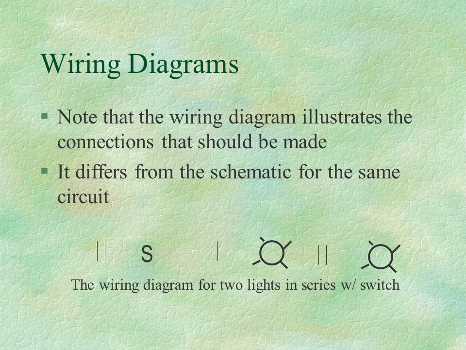 Wiring Diagrams §Note that the wiring diagram illustrates the connections that should be made §It differs from the schematic for the same circuit S The wiring diagram for two lights in series w/ switch